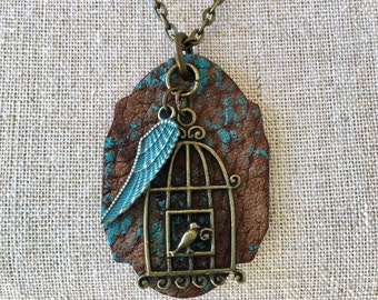 Bird and Feather Wing Leather Patina Necklace Gift for Her Christmas One of a kind