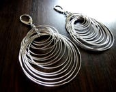 RIPPLE'S SILVER- Highly Polished Silver Multiple Linked Hoop Sterling Silver Earrings, Statement Earrings