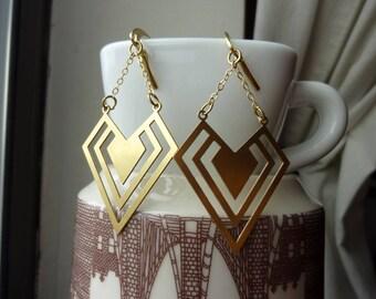 Raw Brass Triangular Heart Chain Earrings, Geometric, Dangle, Chandelier, Statement Earrings