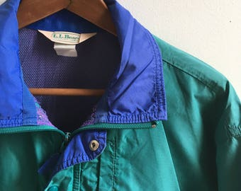 Vintage L.L.Bean Teal Windbreaker Mens Medium