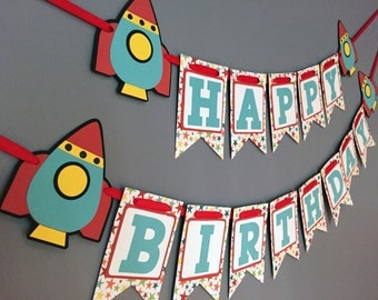 Boys Birthday Banner, Rocket Birthday Decorations, Rocket Space Ship banner, Stars Astronaut Banner