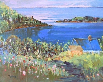 Oil painting, Canadian painting, seascape painting, wall decor, Impressionism art, painting on canvas, Baie St-Paul, Quebec, original art