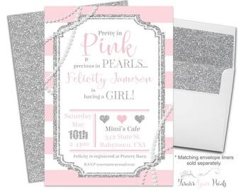 Glitter and Pearls Baby Shower Invitation, Pink and Silver Baby Shower Invitation, Pearl Baby Sprinkle, Baby Shower Invitation Girl