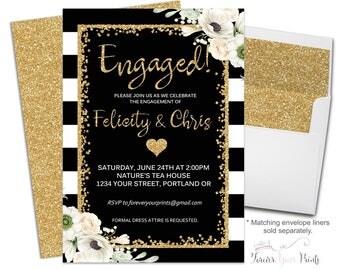 BLACK & GOLD Engagement Invitation Printable or Printed, Engagement Party Invitation with Gold Glitter Accents, Wedding Shower Invitation