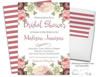 Country Floral Bridal Shower Invitation - Floral Bridal Shower Invite - Rustic Bridal Shower - Country Wedding - Boho Bridal - Bridal Brunch