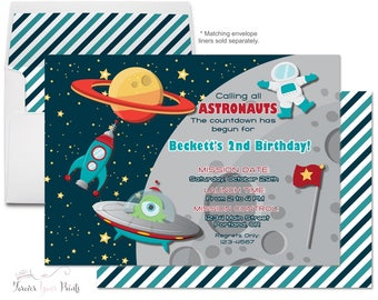 Space Birthday Invitation - Outer Space Invitation - Astronaut Party Invitations - Space Party - Space Invite - Boys Birthday Invitations