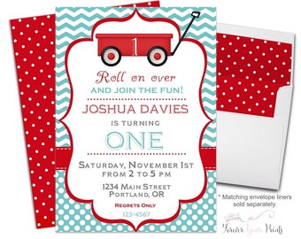 Red Wagon Birthday Invitations - Red Wagon Party Invitation - Red Wagon Invite - Birthday Invitations for Boys - Boys 1st Birthday