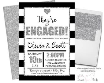 Couples Engagement Invite - Coed Engagement Invitation - Coed Shower Invite - Bridal Shower Invitation - They're Engaged - Black and White