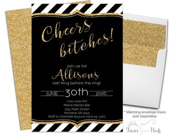 Bachelorette Party Invitation Printable or Printed - Cheers Bitches Invitation - Bachelorette Invite - Bridal Shower Invitation