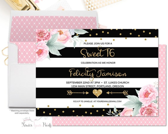 FLORAL Sweet Sixteen Invitation, Sweet 16 Birthday Invitation, Invitations for Women, Girls Sweet 16, Sweet Sixteen Party, Black and Gold