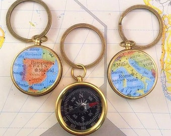 Custom Map Compass KEY CHAIN, YOU choose the Country / Brother Gift / Boss Gift / Man Anniversery gift / Boyfriend Birthday Gift