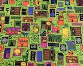 Halloween heidi grace green haunted cotton Fat Quarter Fabric 18x22