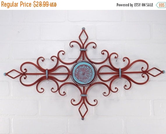 MEGA SALE Turquoise And RED Metal Wall Scroll / By