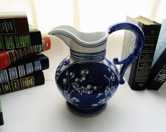 Vintage Decorative Pitcher, Blue and White Jug, Chinoiserie Decor, French Country, Cottage Chic Vase