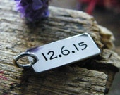 date tag hand stamped dog tag style tiny charm sterling silver matte finish