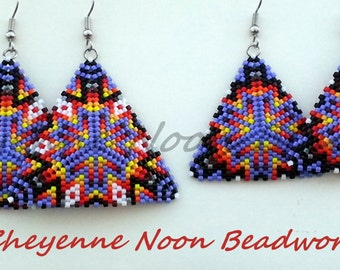 Native American Beaded Earrings - Peyote-Stitch Triangles - Mother Daughter Set - Geometric Starburst - Purple