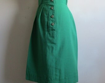 Vintage 1980s Green Shorts Stefi Lara Textured Cuff Dress 80s Short Pants 16