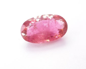 Gigantic Tourmaline Oval XXXL. Natural Rubellite. Barbie Pink. Set Upside Down For Rose Cut. 1 pc. 9.29 cts. 10.5x17.5x6.7 mm (TM1079)