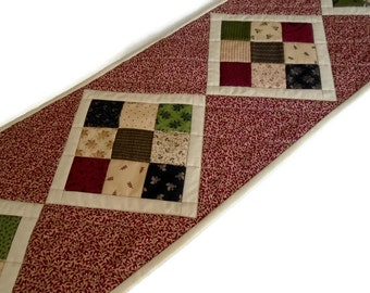 Primitive Quilted Table Runner, Patchwork Quilted Table Runner, Country Quilted Table Topper, Civil War Reproduction Table Quilt Runner