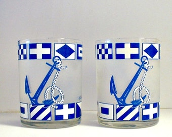 Culver Rocks Glasses  Nautical Boating Signal Flags Anchors Rocks Glasses Signed Barware Blue and White Beach Decor
