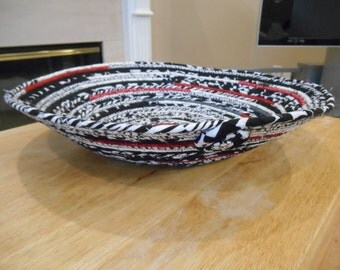 Modern black, white, and red fabric-wrapped clothesline bowl/basket
