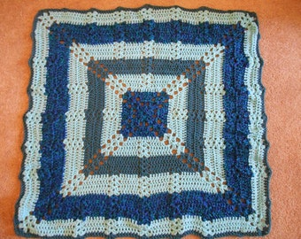 Hand crocheted baby blanket -- Bohemian style in two colorways