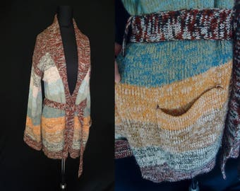 Fall Striped SPACE DYED Vintage 1970's BOHO Women's Hippie Wrap Cardigan Sweater M