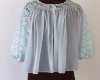 Vintage 60's Bed Jacket Robe Pastel Blue Nylon Lace Puff Sleeves Vanity Fair Size Medium