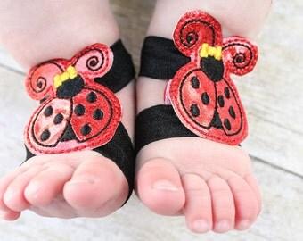 Ladybug Barefoot Sandals, Ladybug Baby Sandals, Ladybug barefoot sandals, Seashell Sock Straps, Ladybug booties, girl barefoot sandal