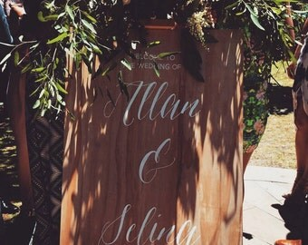 Handpainted Wooden Welcome Wedding Sign, Rustic Wedding Couple Signage, Custom Handpainted Sign