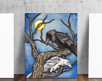 Twa Corbies Two Crows Raven Art Print by Catherine Paschal Dolch