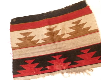 Vintage Woven Southwestern Textile… Geometric Pillowfront, Red Black Cream and Brown, Small Rug, Wall Hanging, Boho Textile, Indian