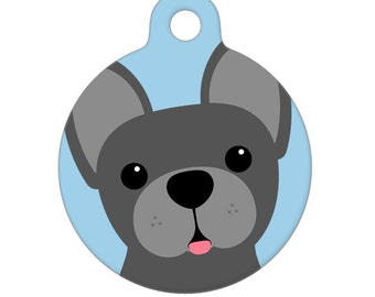 Pet ID Tag - French Bulldog Gray Pet Tag, Dog Tag