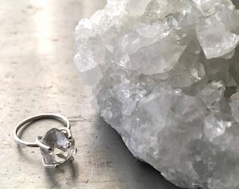 Silver Herkimer Diamond Quartz Ring