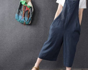 Casual Loose Fitting Comfortable Linen Overall- Women Clothing