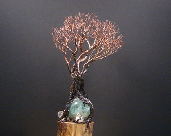 Green Fluorite Sphere, Wire Tree Of Life sculpture, Grove Tree Spirits, Quartz Crystal, Aspen Wood, unique art,  home decor gift idea