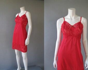 Plus Size 1950s Full Slip - Vintage Red Nylon Van Raalte Lacy Slip