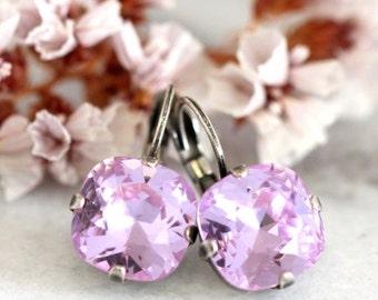 Purple Earrings,Lavender Earrings,Lavender Crystal Drop Earrings,Bridesmaids Earrings,Bridal Lavender Dangle Earrings,Bridal Drop Earrings
