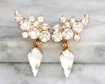 Climbing Earrings, Bridal Climbing Earrings, Swarovski Clear Crystal Bridal Earrings, Bridal Rose Gold Earrings, Cluster Gold Drop Earrings