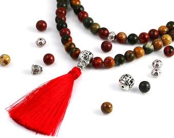 Make Your Own Mala. Red Creek Jasper Beads. Choose Your Tassel Color. DIY Bead Kit. Mala Kit. 108 8mm Gemstone Beads.