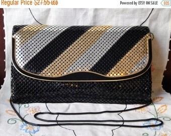 60% OFF Stunning 80s Vintage Metal Mesh Purse~Black~Silver~Gold~Formal purse~Clutch