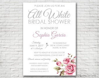All White Bridal Shower - Printable or Printed (w/ FREE Envelopes)