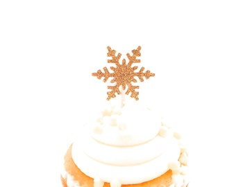 24 Gold Glitter Snowflake Cupcake Toppers - Food Picks - Party Picks