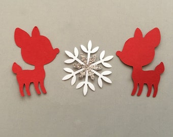 25 Red Deer And 25 Smooth White & Silver Glitter Snowflake Confetti