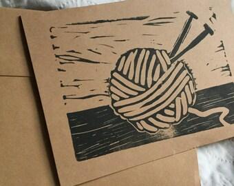 Knitter's Handstamped Linocut Card