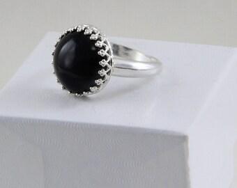 Handmade Black Crow's Eye Set By Hand in Sterling Ring size 8 Taxidermy Eye 14mm Glass Eye Eyeball Ring Oscarcrow