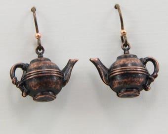 Handmade Earrings Tea Time Tea Pot Earring Jewelry Bronze Rusty Iron Brown Teapots Niobium Hooks