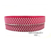 10 Yds. WHOLESALE 7/8 Inch Shocking Pink & White Chevron grosgrain ribbon LOW SHIPPING Cost