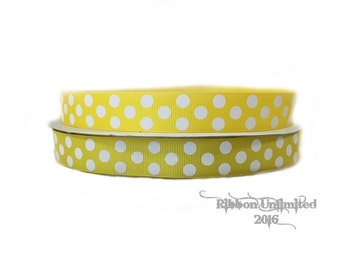 10 Yds WHOLESALE 7/8 Inch Yellow-White Jumbo Polka Dots grosgrain ribbon LOW SHIPPING Cost