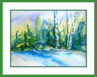 Watercolor Aspen Trees, Birch Trees,Mountain Stream,Watercolor Texture,Blue Green,Evergreen Trees, Colorado Landscape, Water, Martha Kisling